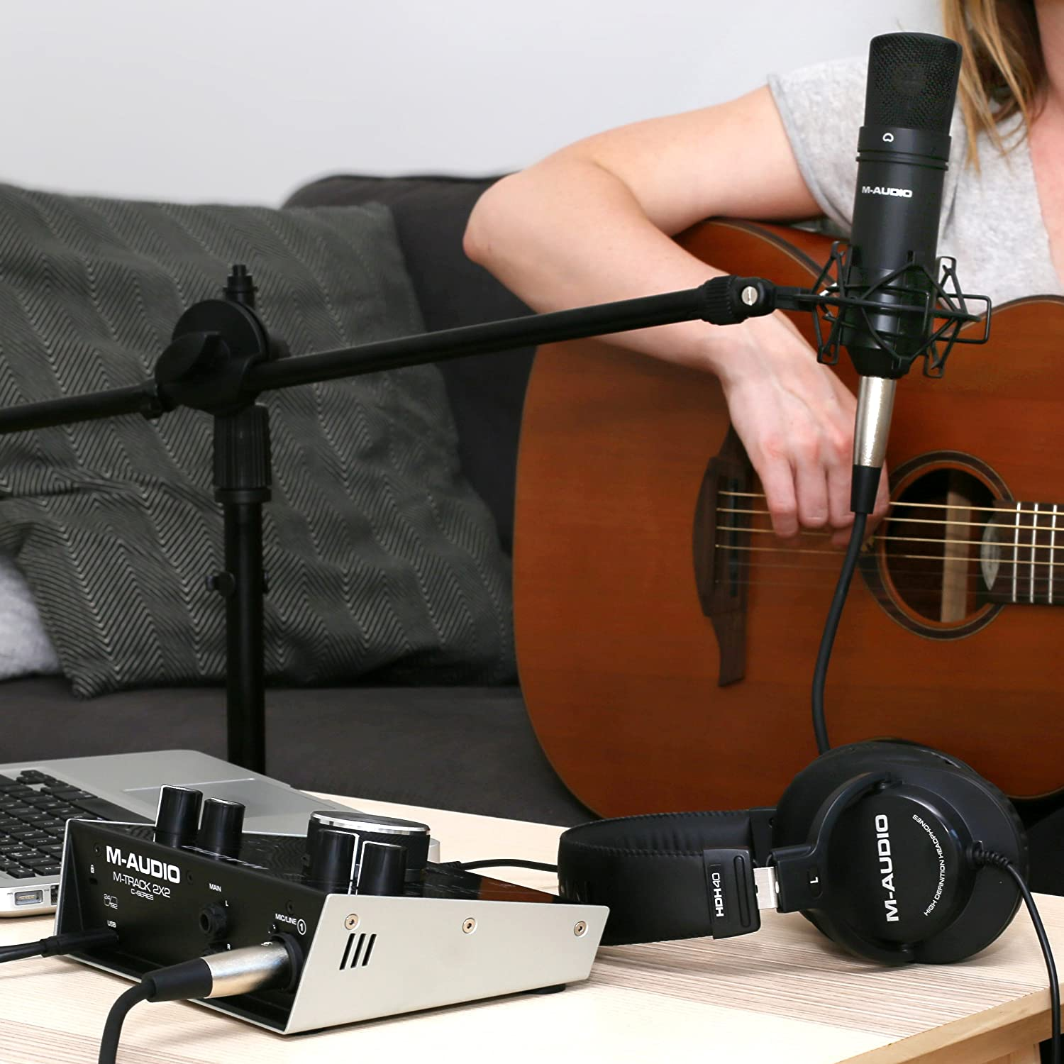 condenser Microphone XLR Cable Headphones and the C-Series Software Suite M-Audio M-Track 2X2 Vocal Studio Pro Complete Vocal Production Package Including a Pro-Grade Interface