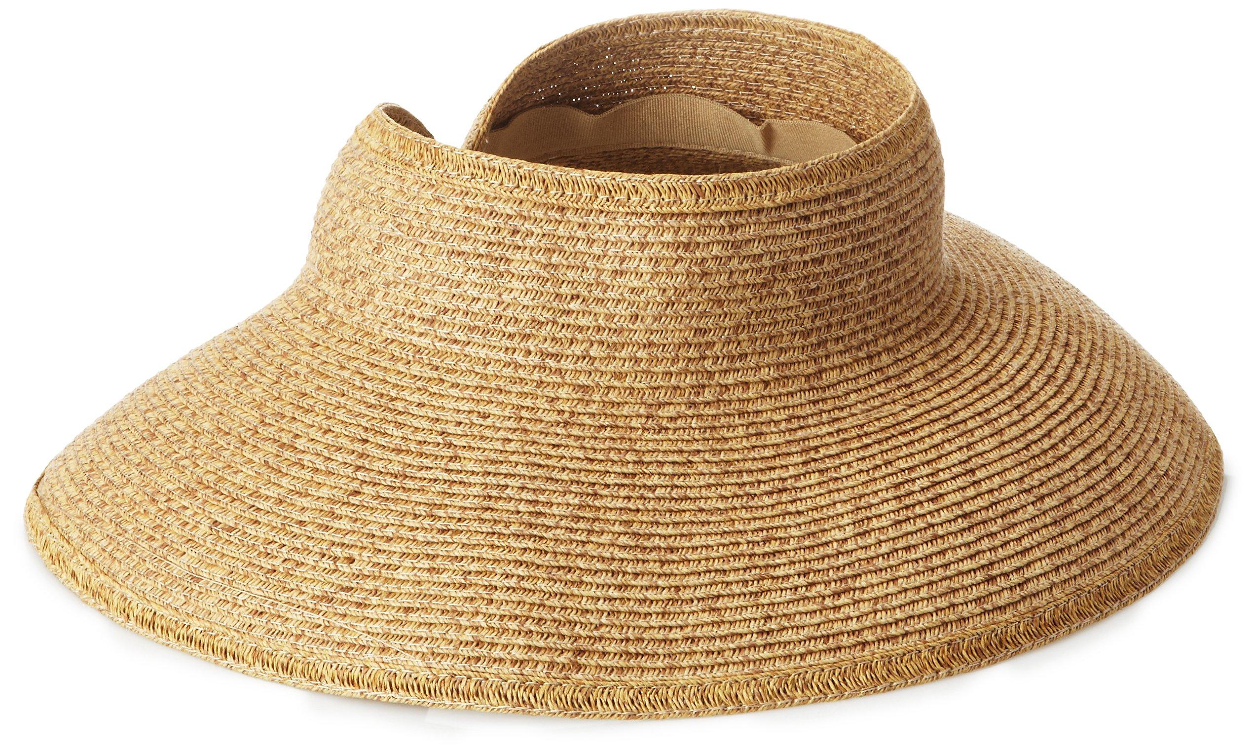 San Diego Hat Company Women's Ultrabraid Visor with Ribbon Binding, and Sweatband, cofeee, One Size by San Diego Hat Company