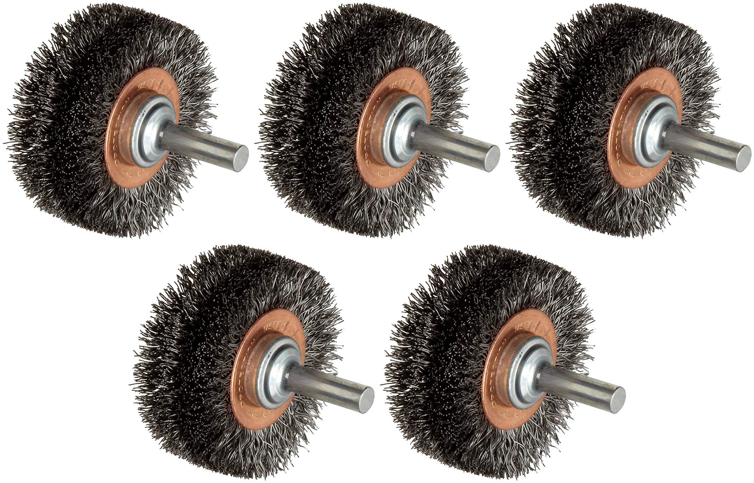 Weiler Wide Face Wire Wheel Conflex Brush, Round Shank, Steel, Crimped Wire, 2'' Diameter, 0.0118'' Wire Diameter, 1/4'' Shank, 7/16'' Bristle Length, 3/4'' Brush Face Width, 20000 RPM (Вundlе оf Fіvе)