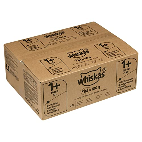 Whiskas 1+ Years Cat Pouches Mixed Selection in Jelly, 84 x 100 g Pack