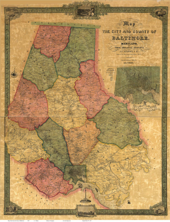 Baltimore County Maryland 1857 by J.C. Sidney Wall Map by Oldmap