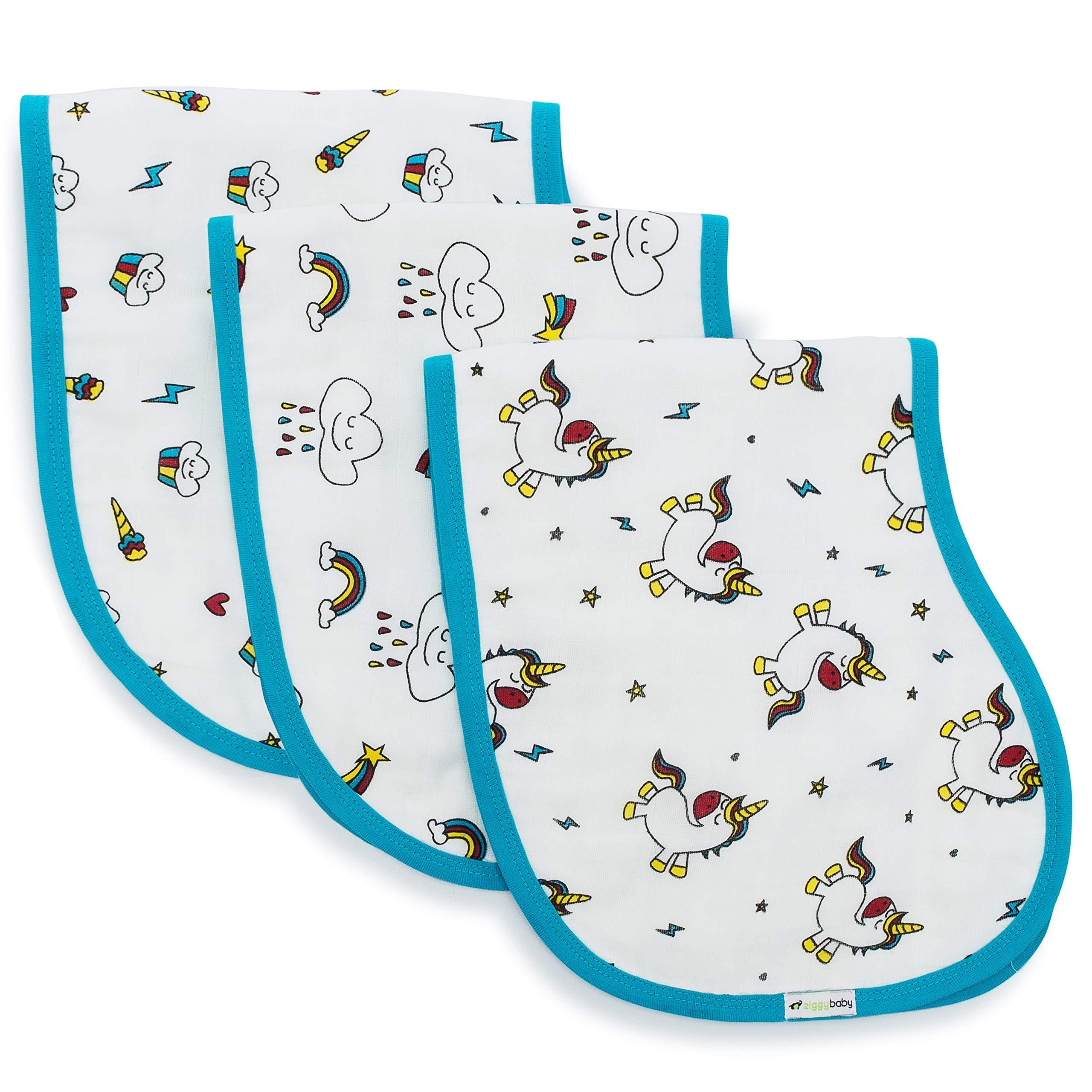 Muslin Burp Cloths, Burpy Bib Set (3 Pack) Unicorn, Rainbow, Cupcake by Ziggy Baby