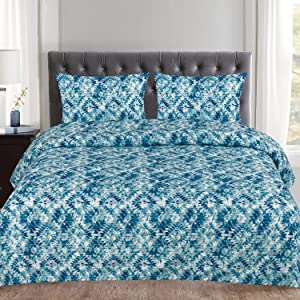 Sweet Home Collection 3 Piece Geometric Pattern Duvet Cover Set, King, Aqualina