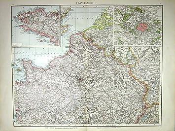 Nordfrankreich Karte.Antiker Druck Nord Frankreich Karte C1897 Bretagne Paris Umgibt Die