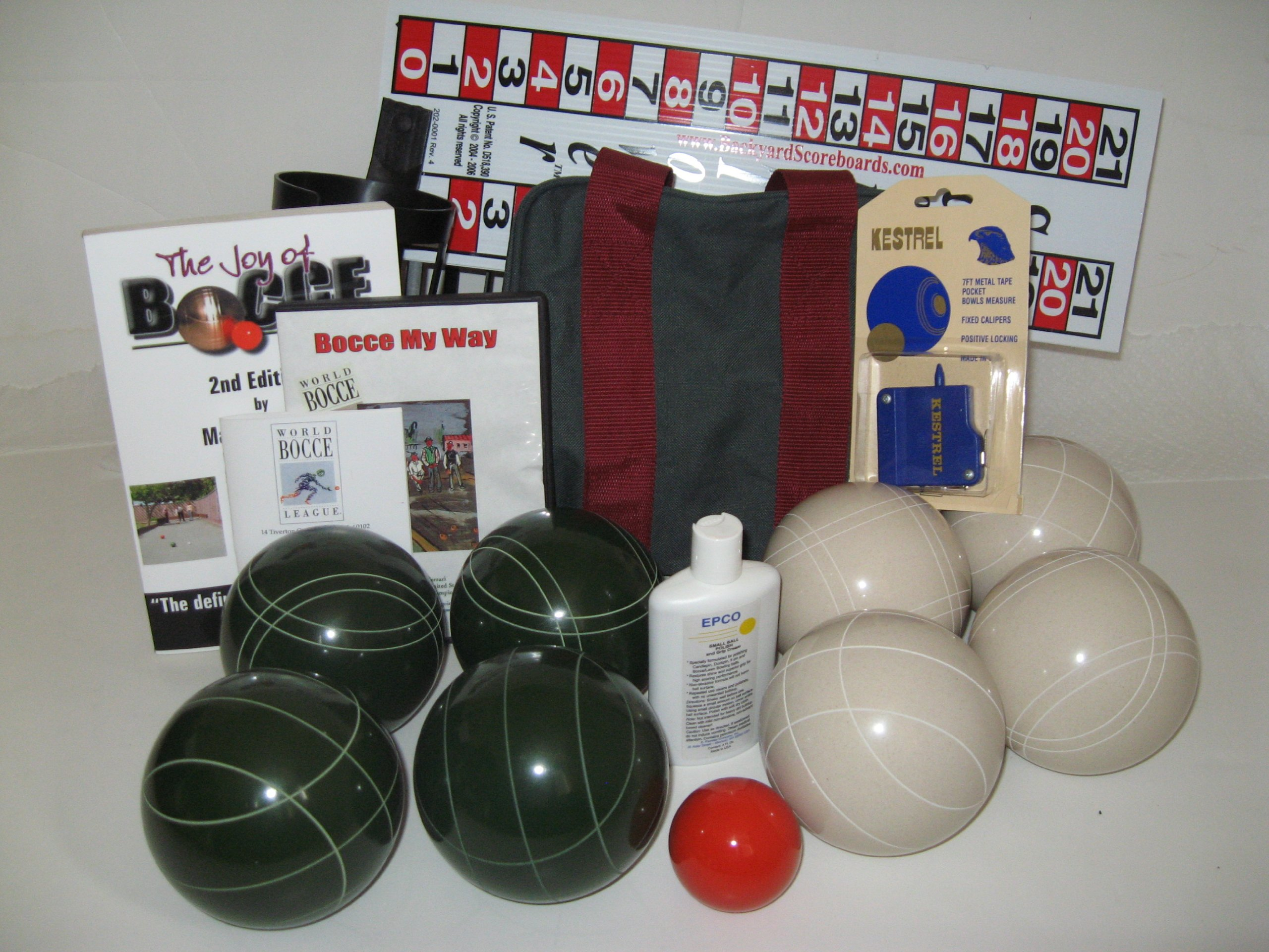 Everything Bocce Package - 110mm Epco White and Green Balls, Score Tower, Hig...