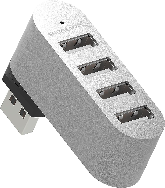 Sabrent Mini concentrador USB de 4 Puertos 2.0 de Aluminio con rotacion de 90 a 180 Grados (HB-UMMC)