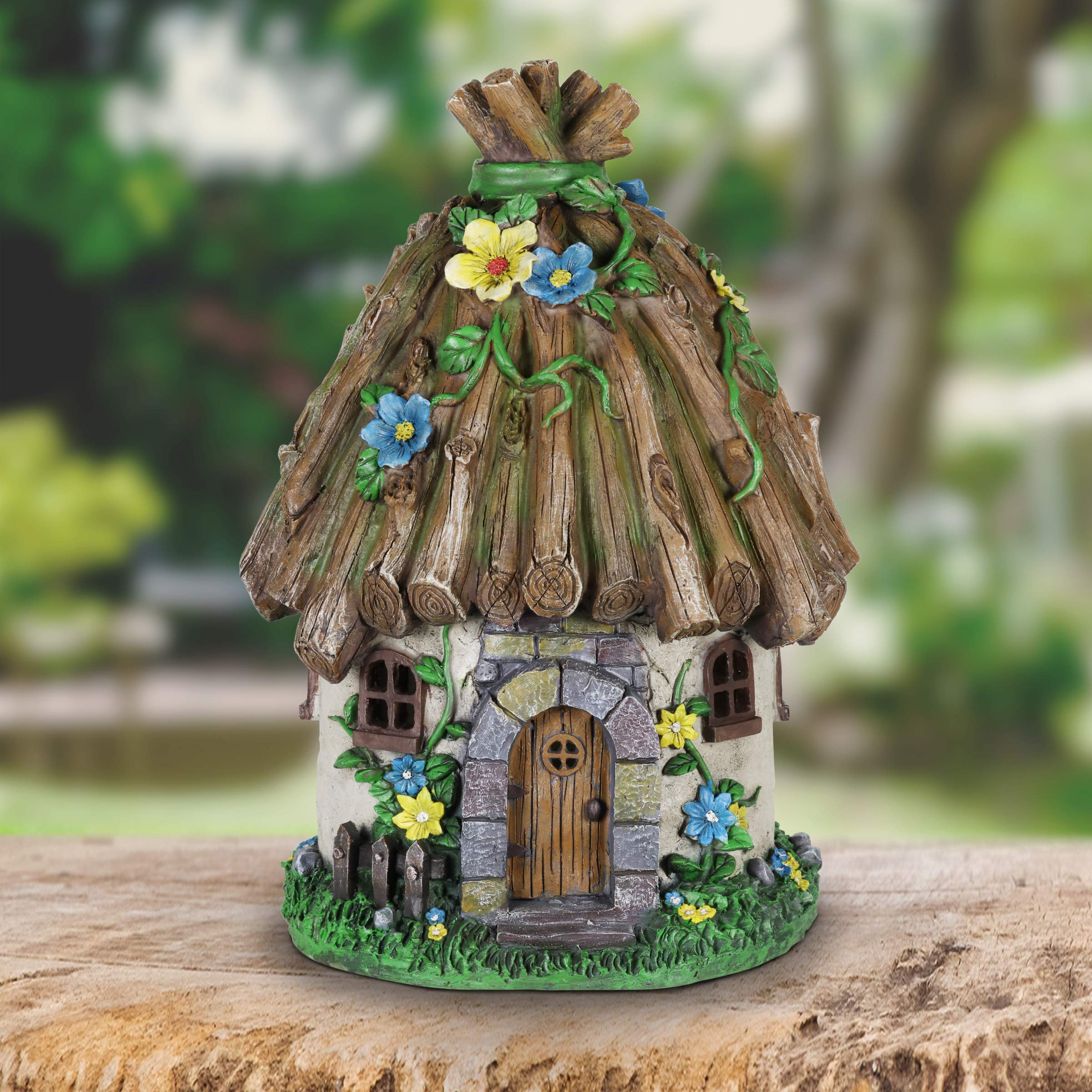 Exhart Twigs Roof Fairy House Outdoor Decor - Fairy Cottage Resin Statue with Solar Garden Lights, Miniature Fairy Hut Solar Home Decor for a Magical Fairy Garden, 9'' L x 9'' W x 15'' H by Exhart (Image #3)