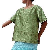 Raan Pah Muang RaanPahMuang Textured Thick Silk Short Sleeve Womens Throw Over Shirt