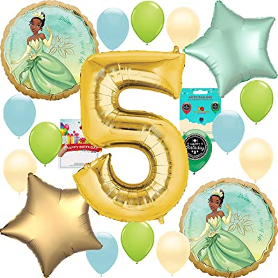 Princess and the Frog Tiana Party Supplies Birthday Decoration Balloon Bundle 5th Birthday: Toys & Games