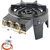 GB-17 Cast Iron Triple Ring Burner 9kW Commercial High Power Boiling with Gas Regulator Set