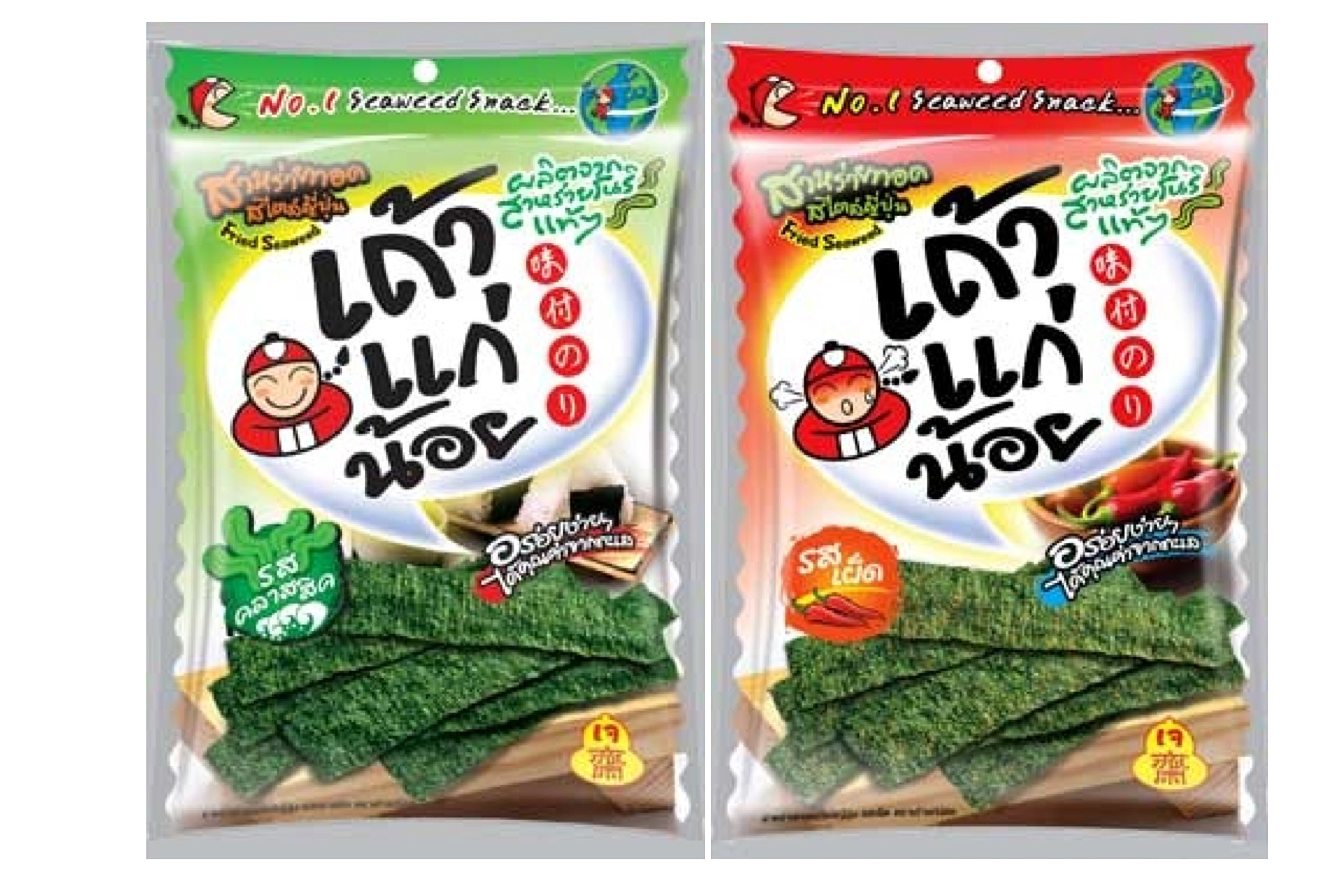 2pcs X 36g Tao Kae Noi Fried Crispy Seaweed Snack Original Classic Flavor & Spicy Flavor