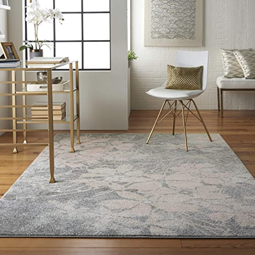 Nourison TRA08 Tranquil Floral Contemporary Grey Pink Area Rug 6 X 9