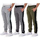 Real Essentials 3 Pack: Men's Tech Fleece Active Athletic Casual Jogger Sweatpants with Pockets