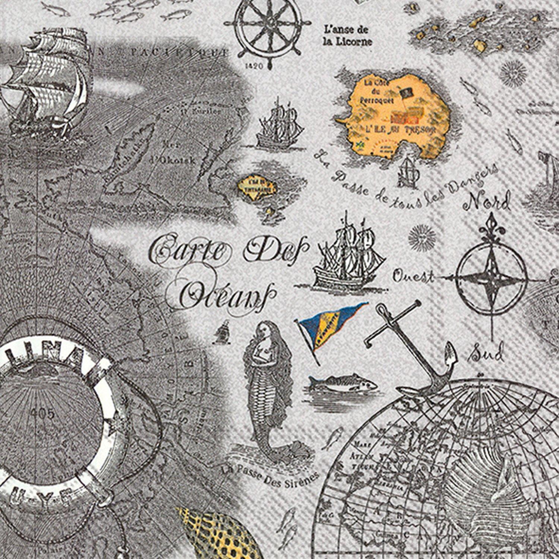 Ideal Home Range 20 Count Carte Des Oceans Grey Paper Luncheon Napkins