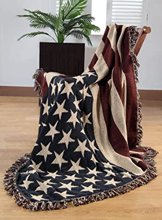 Homescapes 40% Cotton Hand Woven America Flag Throw 40 X 40 Inches Fascinating Stars And Stripes Throw Blanket