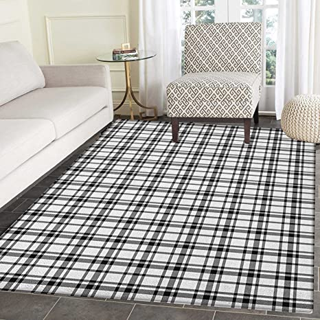 Amazoncom Plaid Rugs For Bedroom Black And White Tartan Pattern