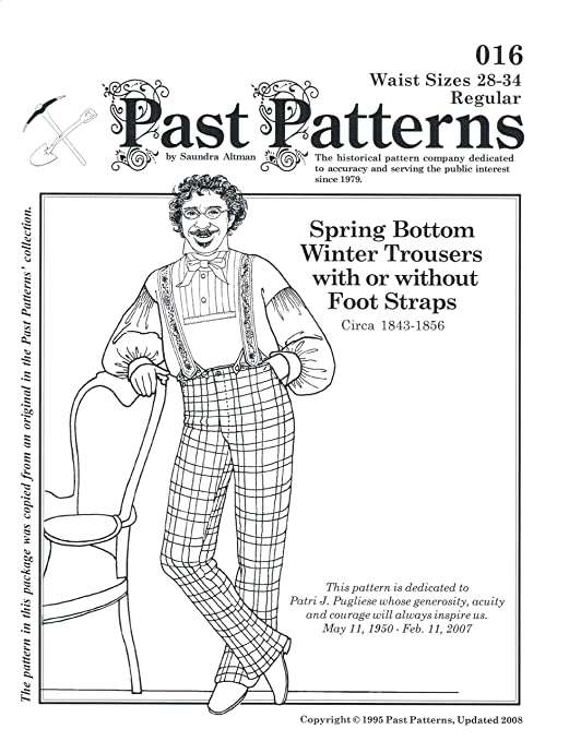 Men's Vintage Reproduction Sewing Patterns 1843-1856 Mens Winter Trousers Pattern (Size- Medium waist 36-42) $17.00 AT vintagedancer.com