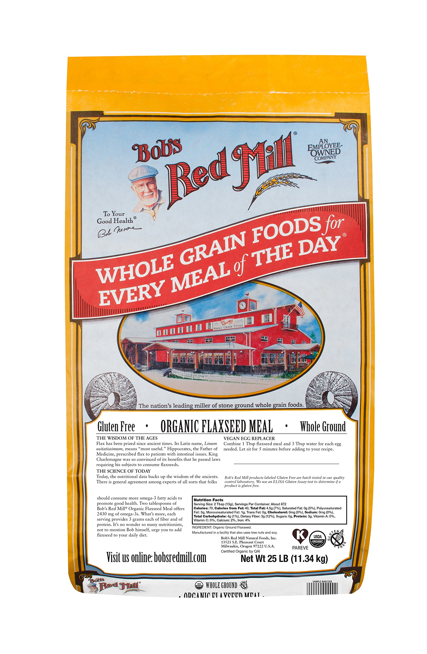 Bob's Red Mill Organic Brown Flaxseed Meal, 25 Pound