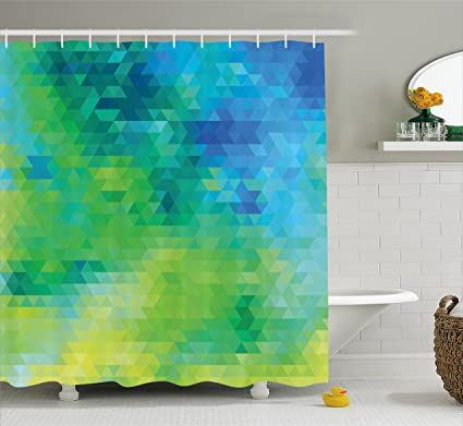 Ambesonne Green And Blue Shower Curtain Geometric Abstract Pattern With Triangles Ombre Inspired Fabric