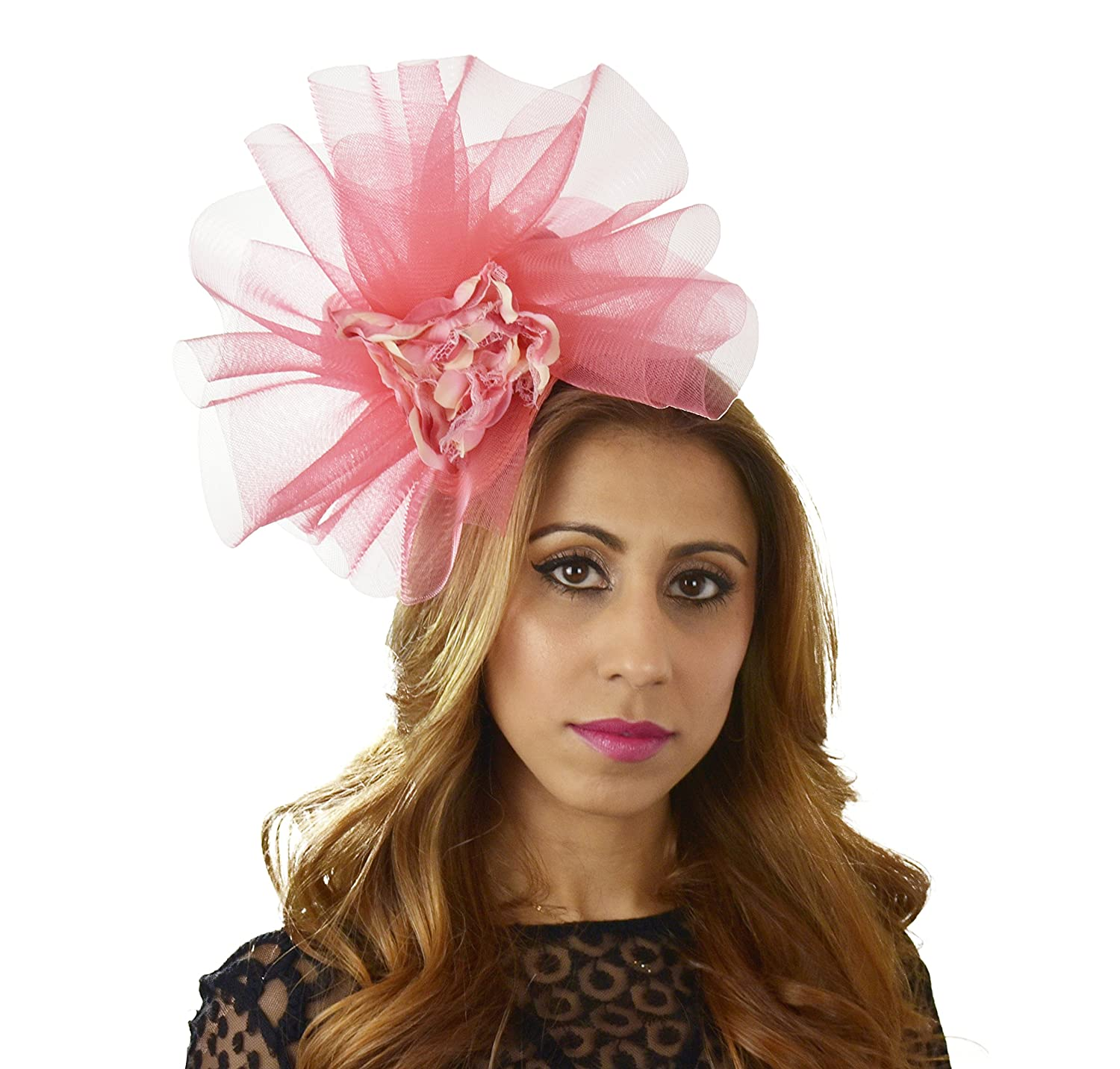 Coral Pink Fascinator Hat for Ascot Derby With Headband  Amazon.ca   Clothing   Accessories 4c54907202b