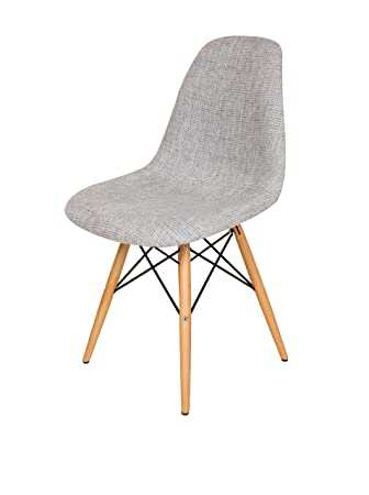 mid century grey upholstered eames style dsw wooden dowel dining