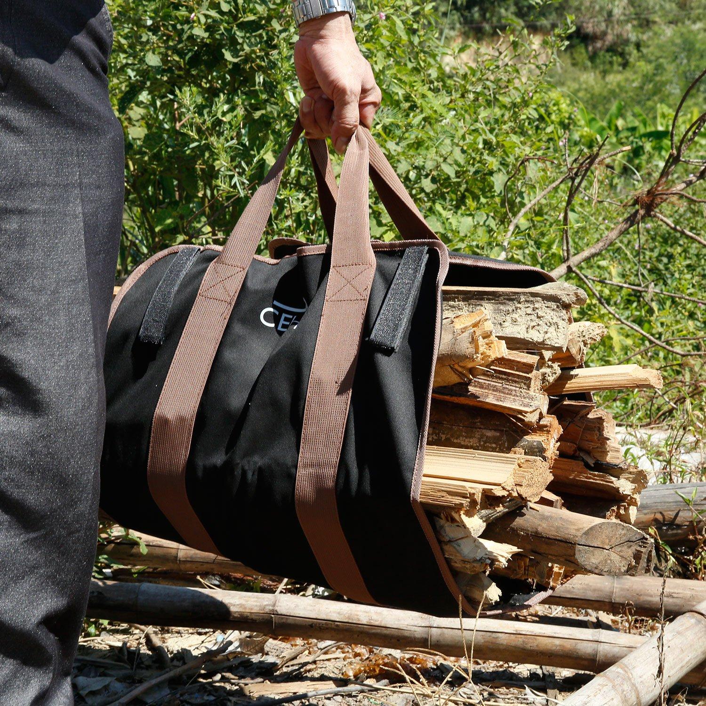 amazon com cehim firewood carry bag durable heavy duty canvas wood