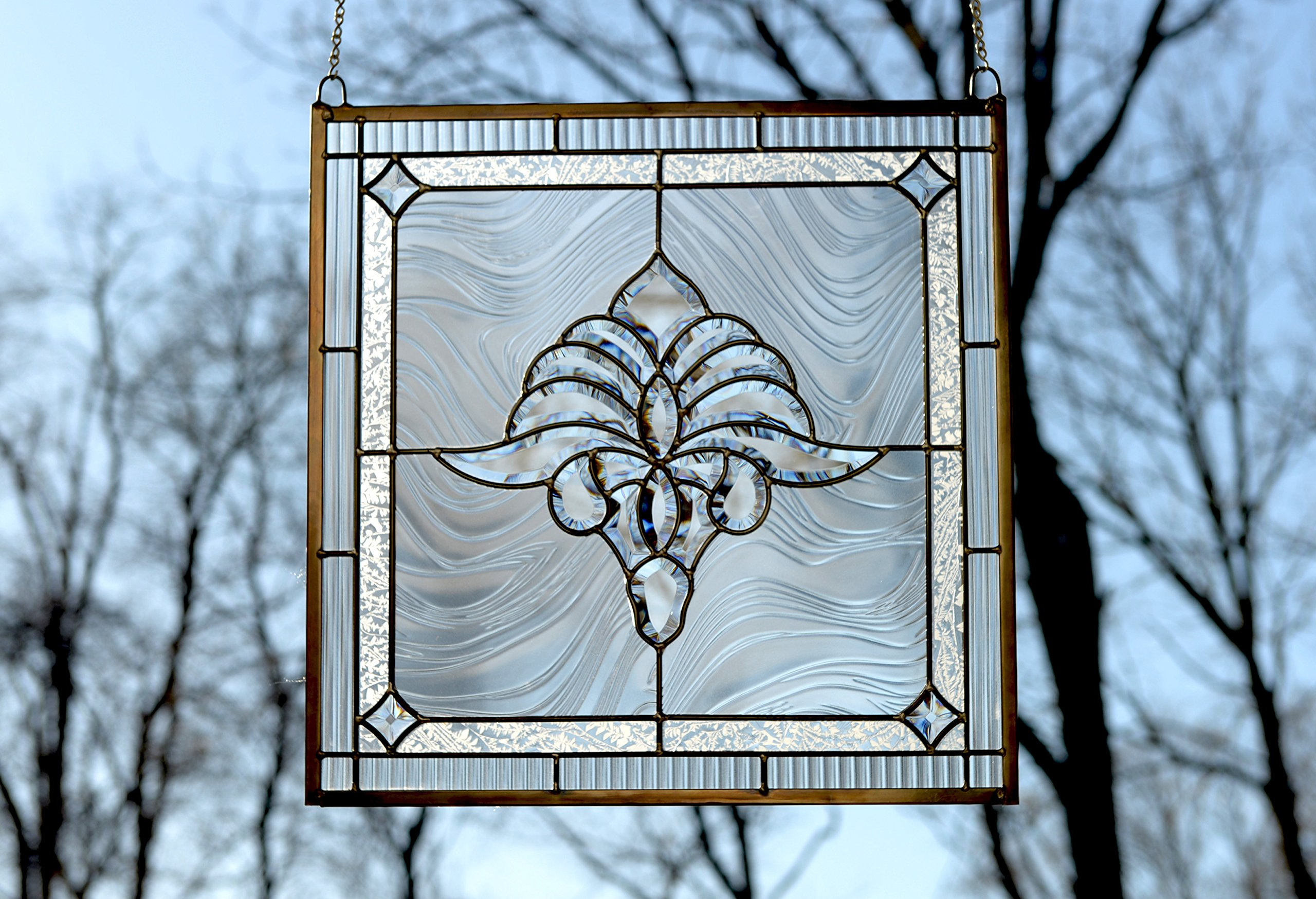 20'' x 20'' Tiffany Style stained glass Clear Beveled window panel