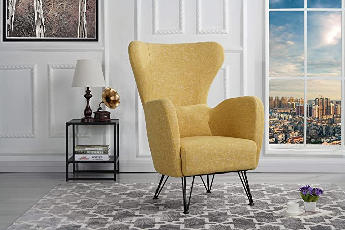 Mid Century Modern Linen Fabric Accent Armchair Shelter Style Living Room Chair (Yellow) by Divano Roma Furniture