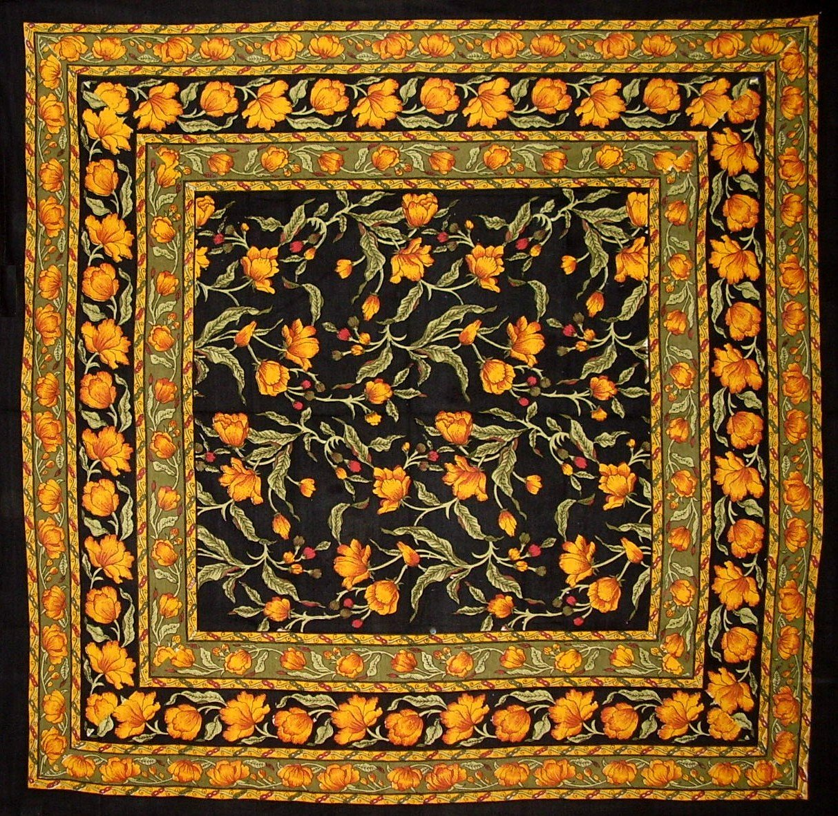 India Arts French Floral Square Cotton Tablecloth 60'' x 60'' Amber on Black by India Arts (Image #1)