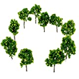 """10-Piece Imitation Miniature Fruit Trees for Model Train Railroad, Landscape or Architectural Scenery or Terrariums 1:60 scale Fruit Trees 3.75"""" Tall (10-pack)"""