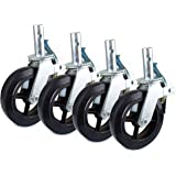 """Set of 4 RK Scaffold 8""""x2"""" Black Rubber Mold-on Steel Caster Wheel with Brake"""