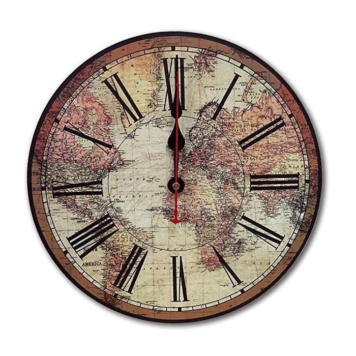 iCasso World Map Vintage French Country Tuscan Style Wood Wall Clock