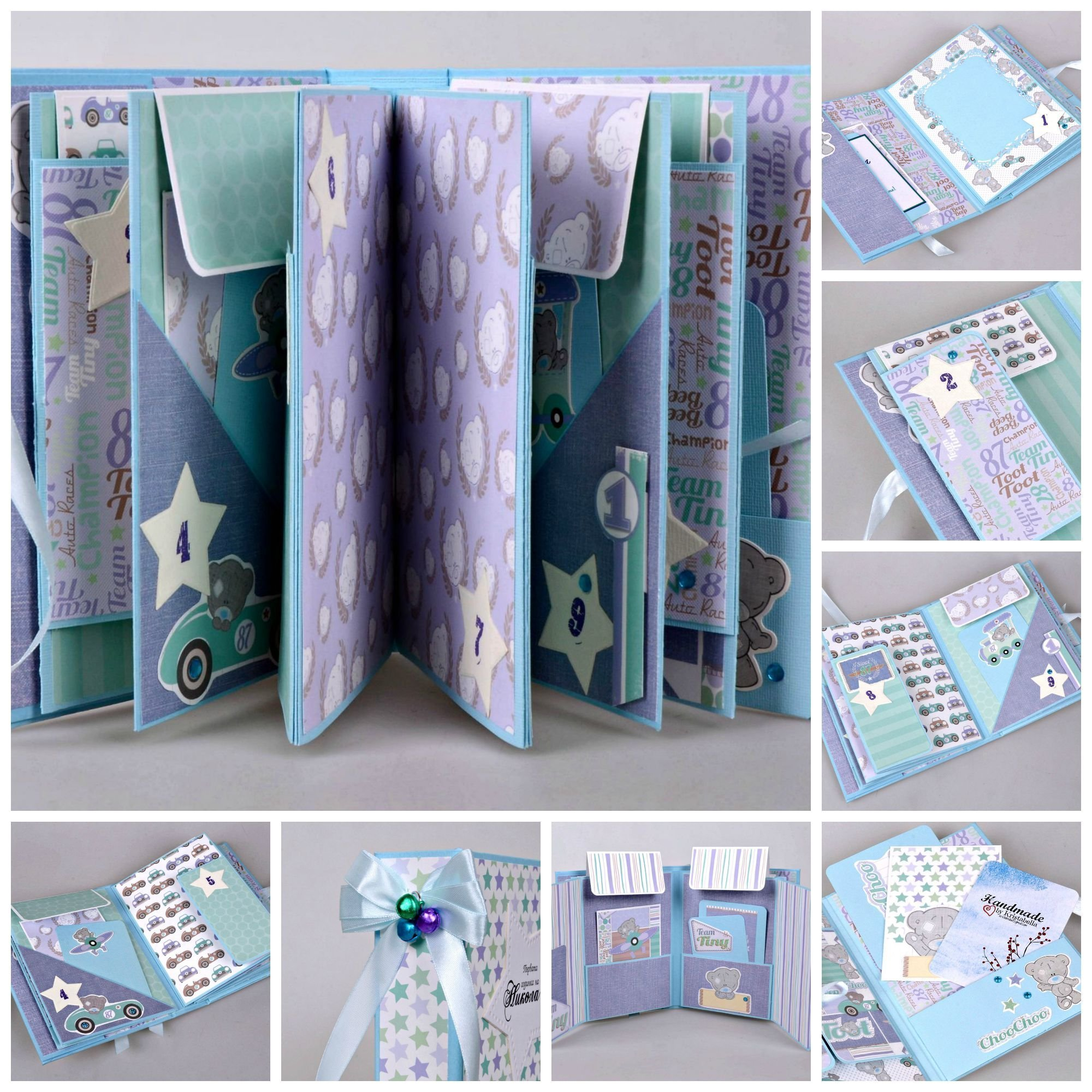 Kristabella Creations Baby Boy Scrapbook Album, Baby Album, First Year Keepsake Album, Personalized Memory Book, Newborn Baby Scrapbook Album, Baby Shower Gift, size 8x6 inches