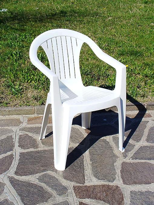 Arredo Esterno Plastica.Poltrona Sedia In Plastica Bianco 12pz Per Giardino Arredo Esterno Interno
