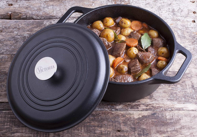 100/% NON-GMO Flaxseed Oil Seasoning Black Medium//4 quart Victoria DUT-304 Pre-Seasoned Cast Iron Dutch Oven with Lid /& Dual Handles