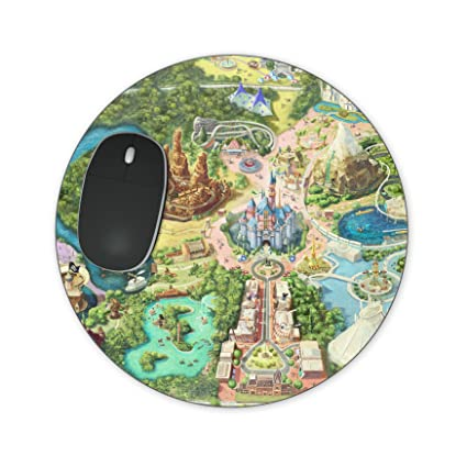 Disneyland Usa Map.Amazon Com Disneyland Colorful Map Mousepad Rectangle Mousepad