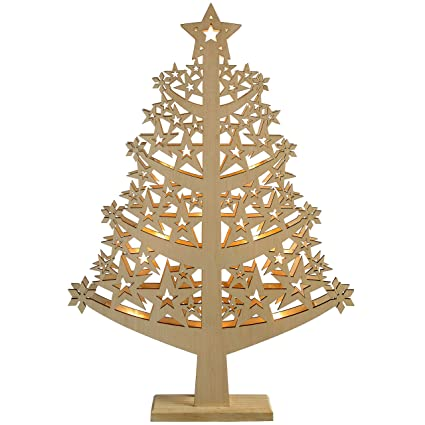 werchristmas pre lit star christmas tree table decoration wood 50 cm white
