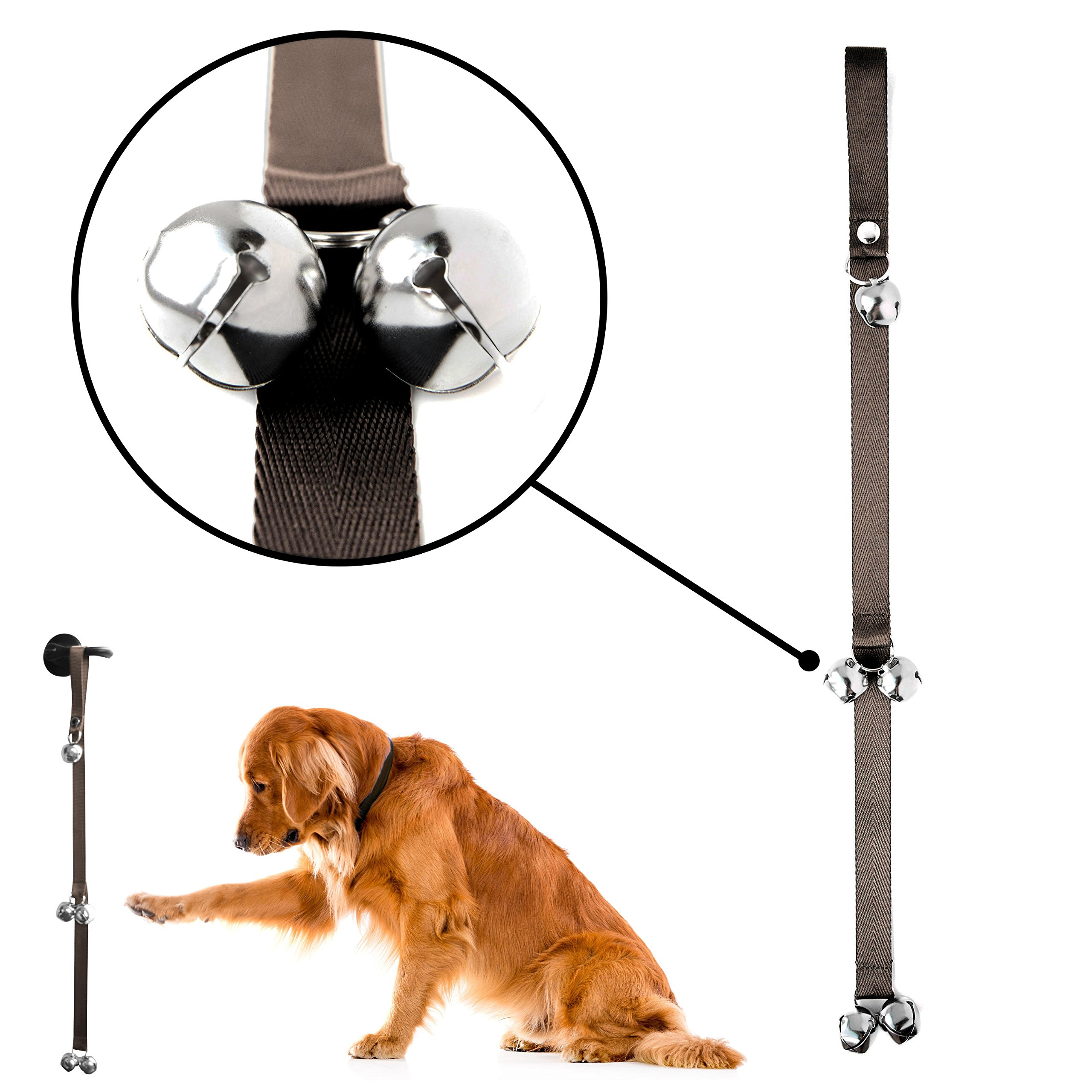 Mighty Paw Tinkle Bells Premium Quality Dog Training Bells BROWN