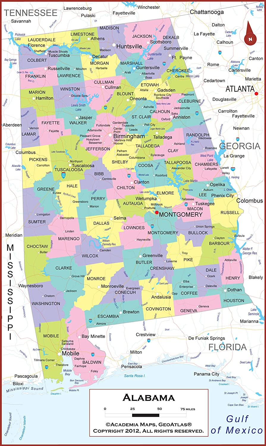 Amazon.com : 21 x 36 Alabama State Wall Map Poster with ...