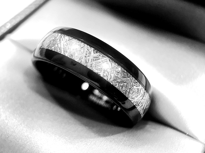 Tungsten Meteorite Ring Wedding Bands Mens Band For Women Black Engagement Rings: Black Rings Wedding Rings At Reisefeber.org