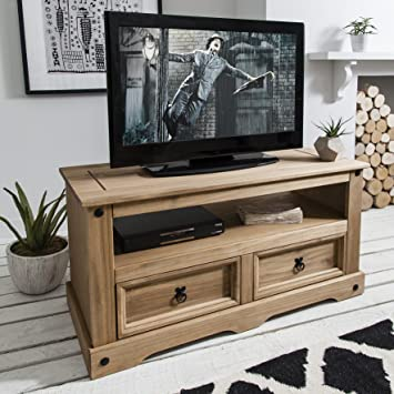Flat Screen TV Unit | TV Stand | Corona Mexican Pine TV Table | 2 ...