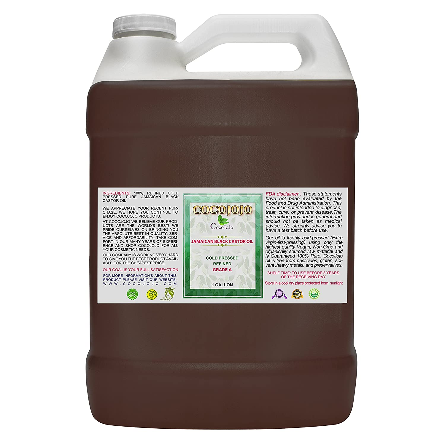 Cocojojo Cold Pressed Organic Jamaican Black Castor Oil, 36 oz