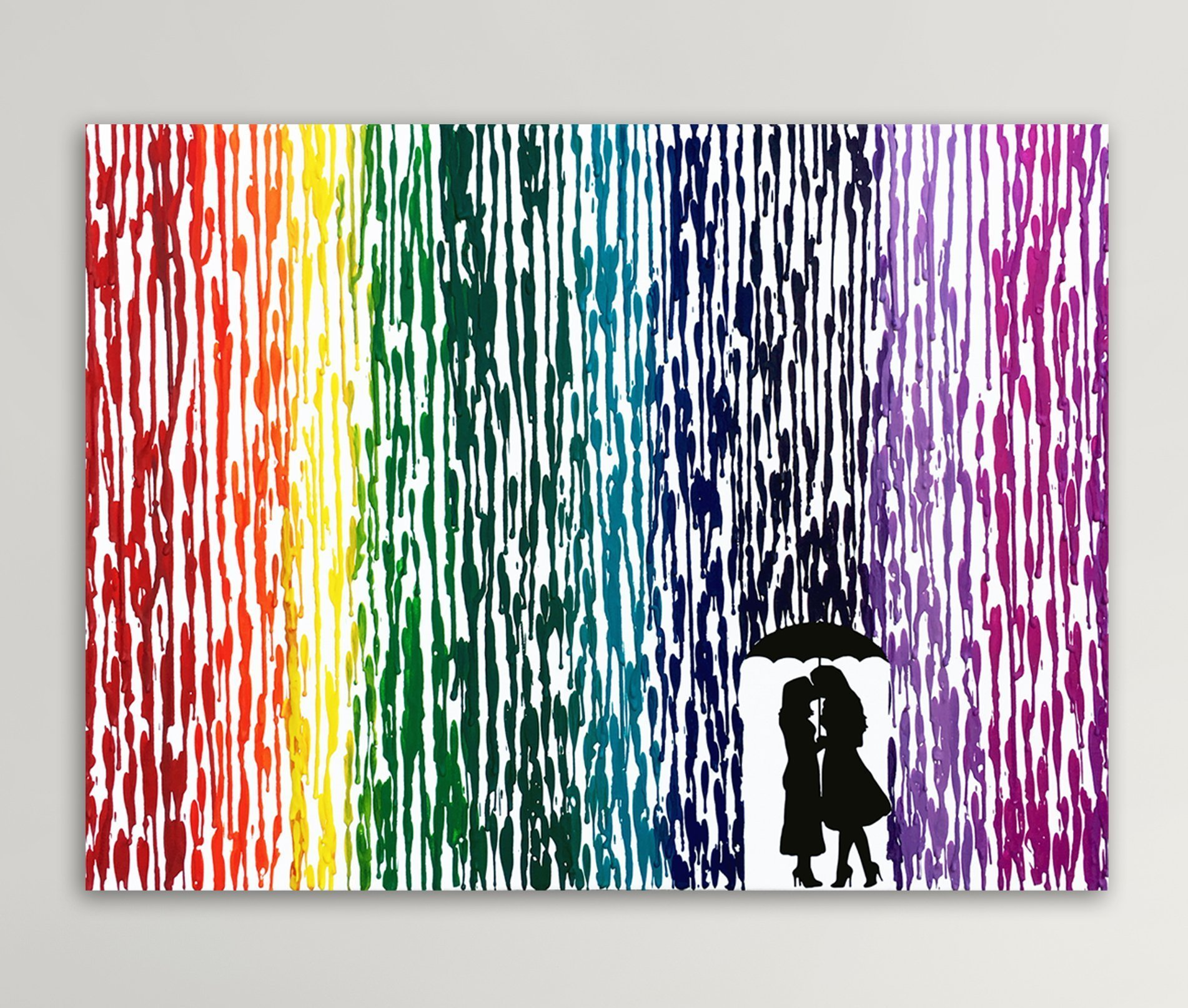 Girl Silhouette Art, Girl Couple Gift, Lesbian Wedding Gift, Melted Crayon Art, LGBT Art, Gifts For Lesbian Couples 16x20''
