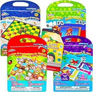 Magnetic Travel Games for Kids Toddlers Set -- 4 Magnetic Games for Travel in Car or Airplane with Over 2000 Stickers (Road Trips Series)