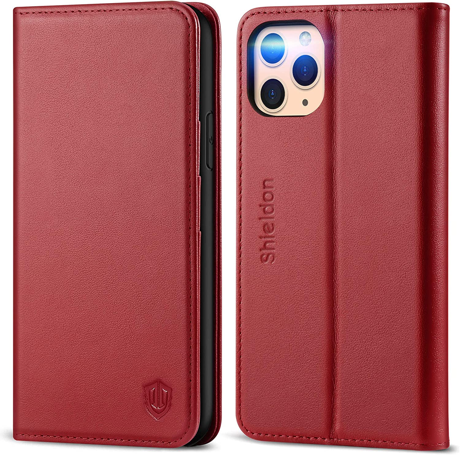 SHIELDON iPhone 11 Pro Case, Genuine Leather Auto Sleep Wake Wallet Case Flip Magnetic Cover RFID Blocking Card Slots Kickstand Shockproof Case Compatible with iPhone 11 Pro (5.8