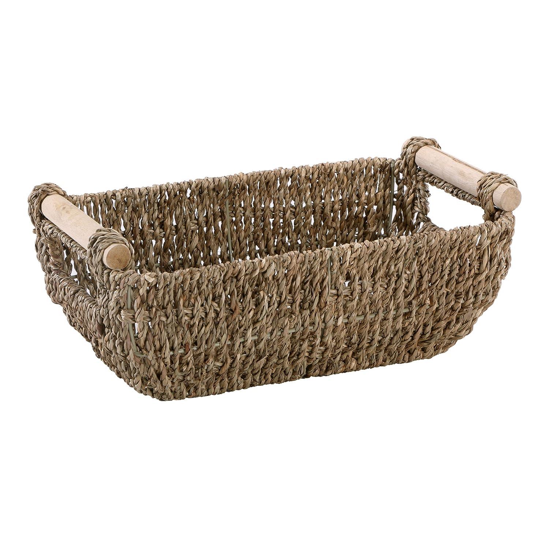 "Hoffmaster BSK3000 Seagrass Basket with Handles, 4.25"" Height, 6.25"" Width, 12"" Length, Dark Brown"