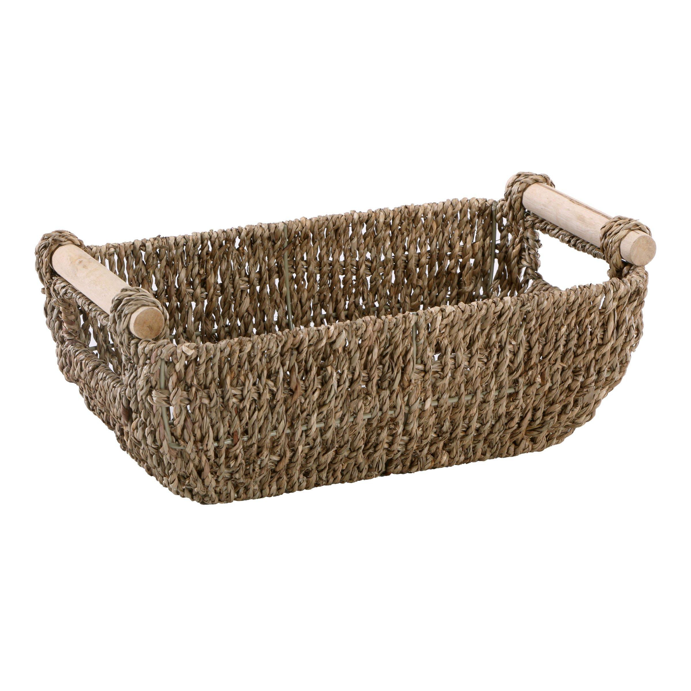 Hoffmaster BSK3000 Seagrass Basket with Handles, 4.25'' Height, 6.25'' Width, 12'' Length, Dark Brown