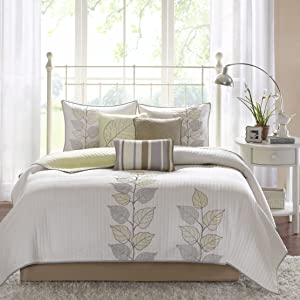 Madison Park Caelie 6 Piece Reversible Coverlet Set Yellow King/Cal King