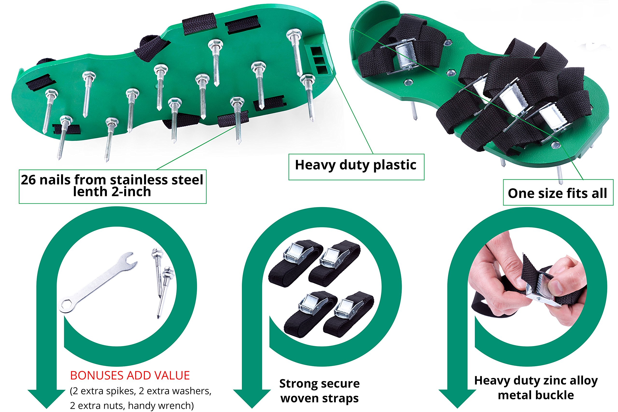 Professional Lawn Aeration Sandals with 4 Adjustable Durable Straps for Effective Treating, Aerate, Fertilize Lawn Soil-Lawn Aerator Shoes with Metal Buckles for Greener and Healthier Grass,Yard Care. by Skilur P (Image #2)