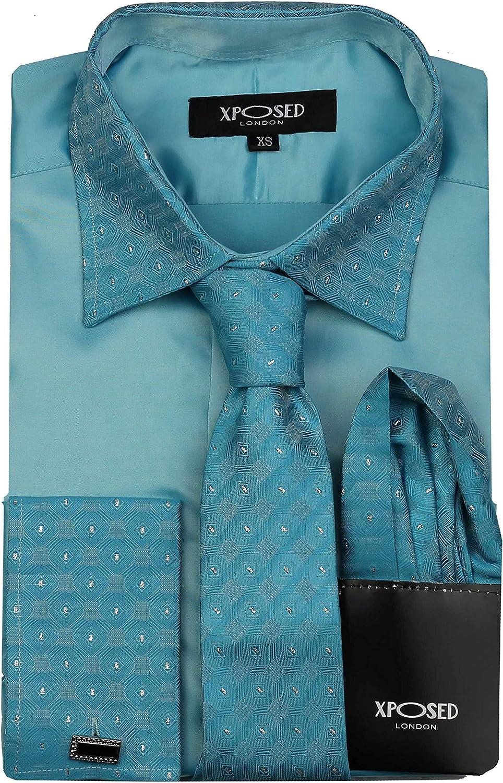 Camisa formal para hombre con ribete de plata, doble puño de satén para vestido de boda, fiesta, incluye pañuelo y gemelos